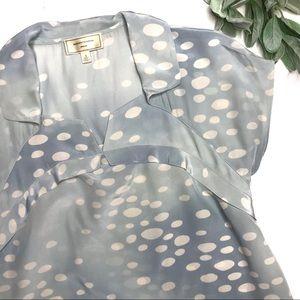 MOULINETTE SOEURS  sz 4 blue silk polka dot blouse